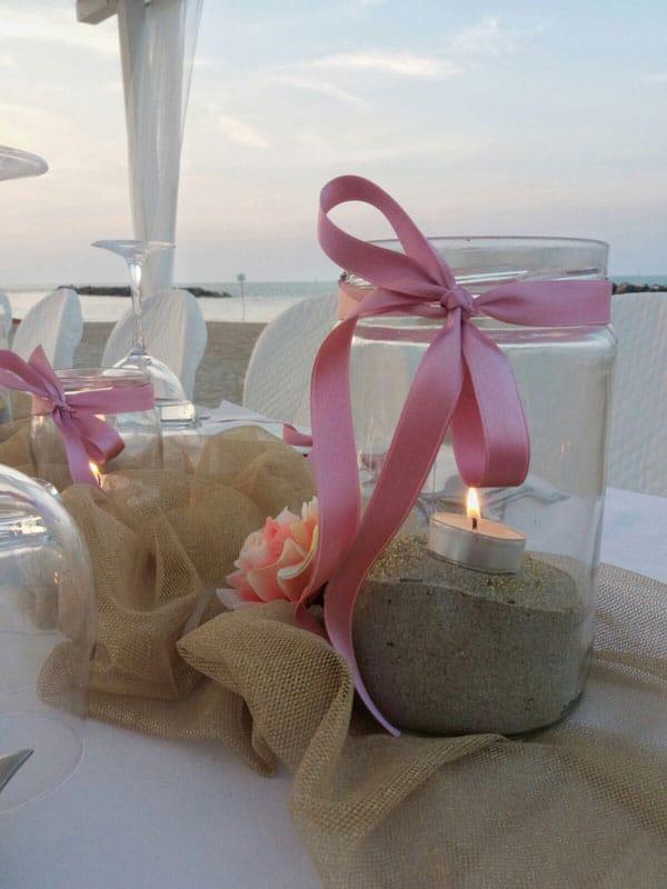 Dettaglio tavolo cene in spiaggia